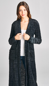 Long Furry Cardigan with Pockets - Black