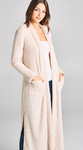 Long Furry Cardigan with Pockets - Beige