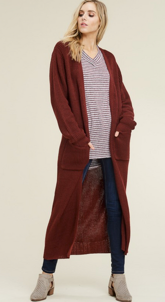 Ankle Length Sweater Cardigan - Wine