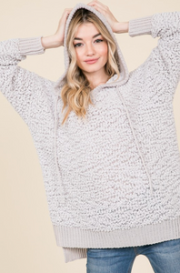 Curvy Popcorn Knit Hoodie - Light Gray