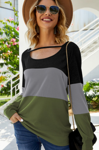 Color Block Cutout Top - Black/Gray/Olive