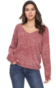 Chenille Sweater - Rose Rust