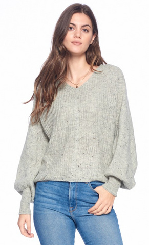 Bubble Sleeve Sweater - Heather Grey