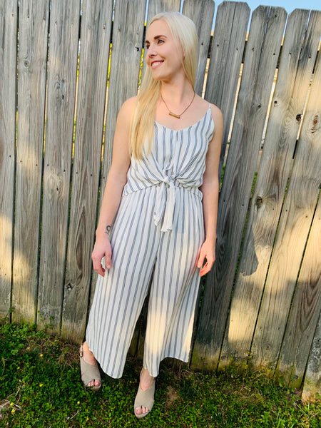 Striped Romper w/ Front Tie Detail - Off White