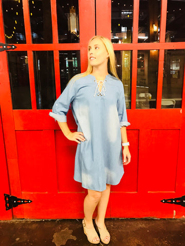 Mineral Washed Lace Up Front Denim Dress - Light Denim