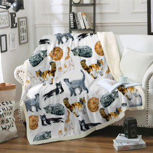 Cute Cats Sherpa Fleece Throw Blanket Algo Rhythm