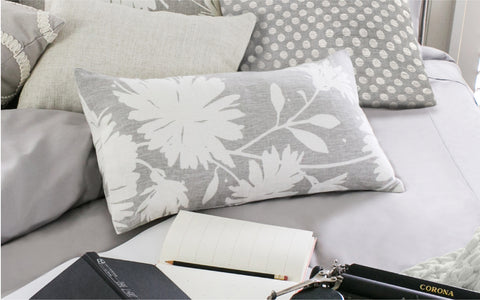 "Gerbera Silver 12"" x 22"" Pillow"