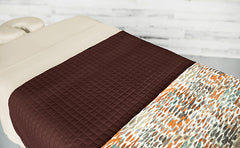 Cream Linens with a Chocolate Quilted Blanket & an Abstract Impression Premium Saddle