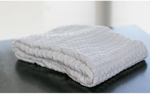 White Bubble Knit Cable Throw