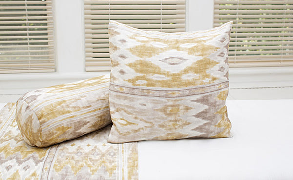 Java Ikat Golden Grey Pillow Cover