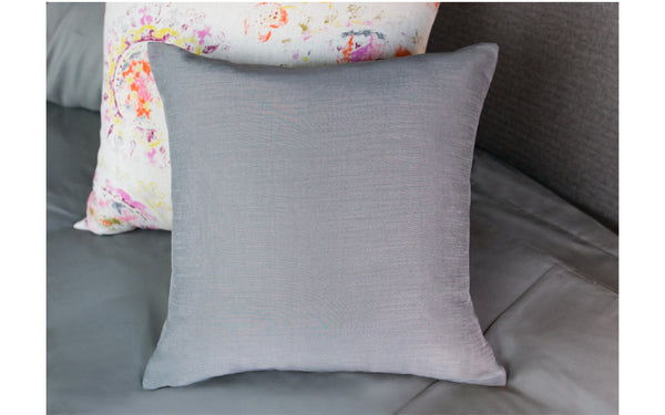 Grey Shantung Pillow Cover