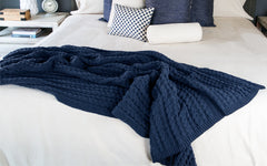 Indigo Bubble Knit Cable Throw