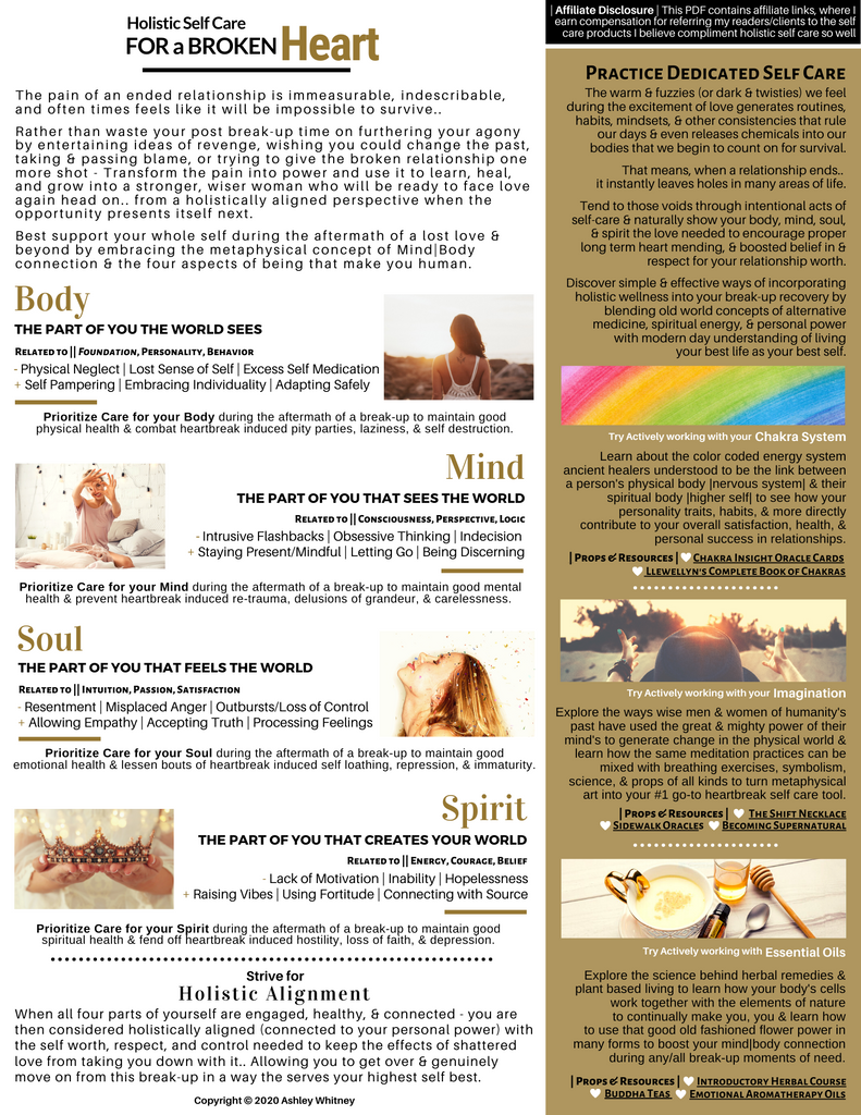 heart break self care cheat sheet download soulandherbs.com
