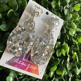 Metallic Silver Confetti Tear Drop Dangle Earrings. All Kinds of Glitz & Glamour.