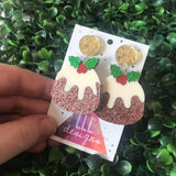 Christmas Pudding Dangle Earrings - Featuring Dazzling Metallic Gold Tops.