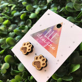 Laser Etched Timber Paw Print Stud Earrings.