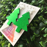 Glitter Green Christmas Tree Statement Dangle Earrings with Silver Star Topper (d/g)