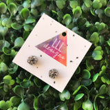 Mini Grey Druzy Stud Earrings.