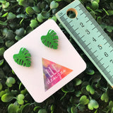 Glitter Green Monstera Studs - Liven up your lobes!