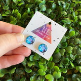 Star Earrings. Stunning Star Patterned Glass Dome Stud Earrings.