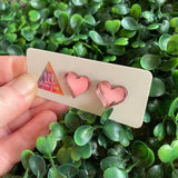 Pale Pink Mirror Love Heart Stud Earrings. Perfect to add to any outfit.