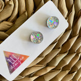 Circle Earrings. Holographic Silver Shatter Circle Stud Earrings.
