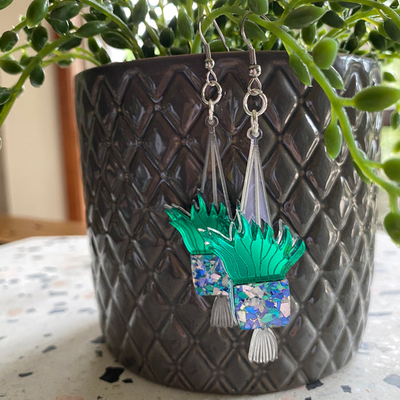 Hanging Planter Dangle Earrings. Featuring Stunning Blue and Silver Holographic Planters hanging from Surgical Stainless Steel Hooks.