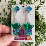 Hanging Planter Dangle Earrings. Featuring Stunning Blue and Silver Holographic Planters along with matching circular tops.