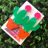 Potted Cactus Statement Dangle Earrings.