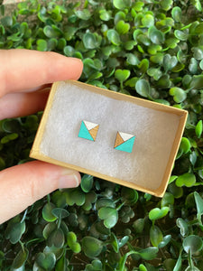Geometric Square Earrings - Detailed Hand Painted Bamboo Earrings - Available in 2 Stunning Colour Combinations.