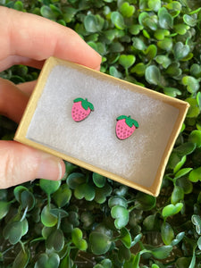 Strawberry Earrings - Detailed Hand Painted Bamboo Earrings. Available in 2 Stunning Colours.