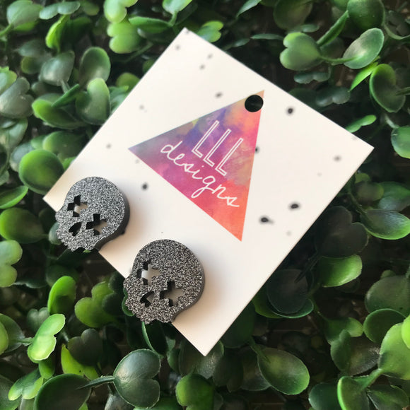 Skull Stud Earrings - Black Glitter Acrylic Earrings.