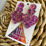 Love Heart Earrings. Holographic Purple & Pink Shatter Love Heart Statement Dangle Earrings.