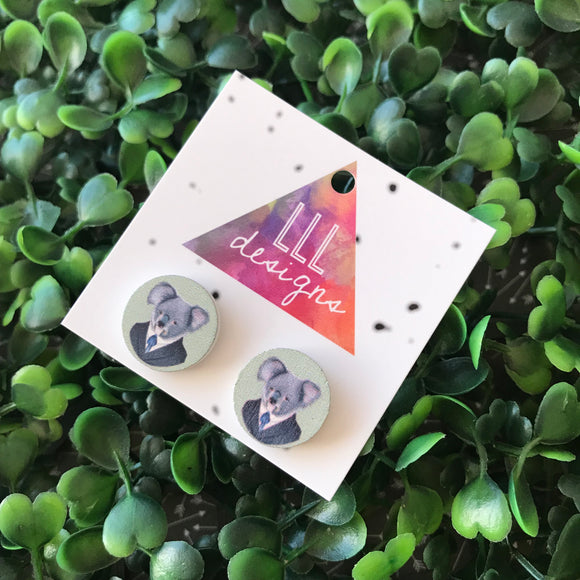 Quirky Koala Printed Timber Stud Earrings.
