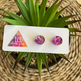 Circle Earrings. Holographic Purple & Pink Shatter Circle Stud Earrings.