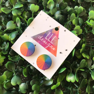 Rainbow Colour Wheel Printed Timber Stud Earrings.