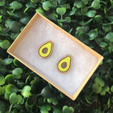 Hand Painted Avocado Stud Earrings. Laser Cut Timber Earrings.