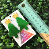 Glitter Green Christmas Tree Statement Dangle Earrings with Gold Star Topper (d/g)