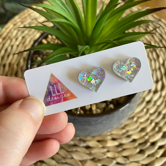 Love Heart Earrings. Holographic Silver Shatter Love Heart Stud Earrings.
