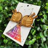 Knitting Earrings. Knitting Needles and Yarn Bamboo Earrings on 20mm Hoops.