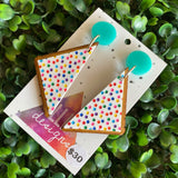 Fairy Bread Statement Dangle Earrings - Hand Painted Acrylic and Timber Earrings. With Mint Tops.