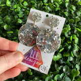 Silver Confetti Circle Dangle Earrings. All Kinds of Sparkle & Glitter Joy!