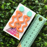 Squiggle Wiggle Dangle Earrings ( in Orange ) Pastel Matte Orange Earrings.
