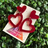 Love Heart - Double Red Mirror Love Heart Statement Dangle Earrings.