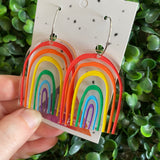 Rainbow Earrings. Fabulous Hand Painted Acrylic Rainbow Hoop Statement Earrings. The Perfect POP of Colour to Brighten any Day!