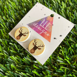 Stag Head - Deer Head Printed Timber Stud Earrings.
