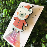 Santa Bear Printed Timber Christmas Brooch.