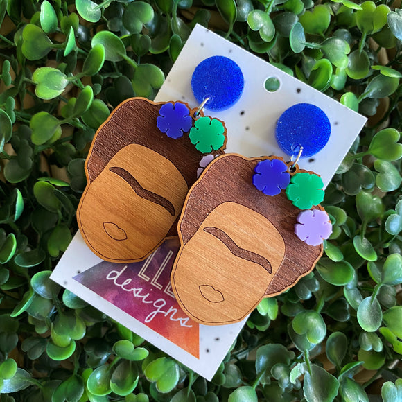 Fabulous Frida Stacked Statement Dangle Earrings. (Blue Edition)