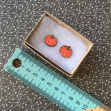 Hand Painted Pumpkin Stud Earrings. Bamboo Earrings.