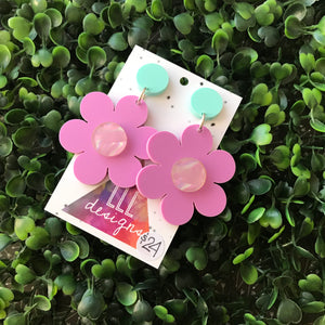Flower Earrings - Pastel Flower Power Statement Dangle Earrings.
